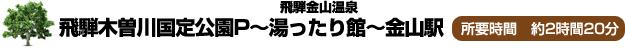 飛騨木曽川国定公園P~飛騨金山温泉 湯ったり館~金山駅