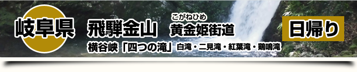 岐阜県-飛騨金山 黄金姫街道~横谷峡「四つの滝」白滝・二見滝・紅葉滝・鶏鳴滝 日帰り