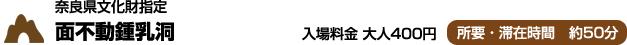 奈良県文化財指定 面不動鍾乳洞