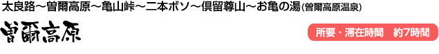 曽爾高原(太良路~曽爾高原~亀山峠~二本ボソ~倶留尊山~お亀の湯(曽爾高原温泉))