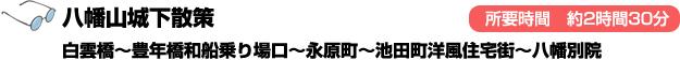 八幡山城下散策 白雲橋~豊年橋和船乗り場口~永原町~池田町洋風住宅街~八幡別院