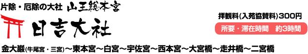 山王総本宮 日吉大社(金大巌(牛尾宮・三宮)~東本宮~白宮~宇佐宮~西本宮~大宮橋~走井橋~二宮橋)