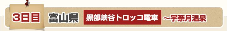3日目 富山県 黒部峡谷トロッコ電車~宇奈月温泉